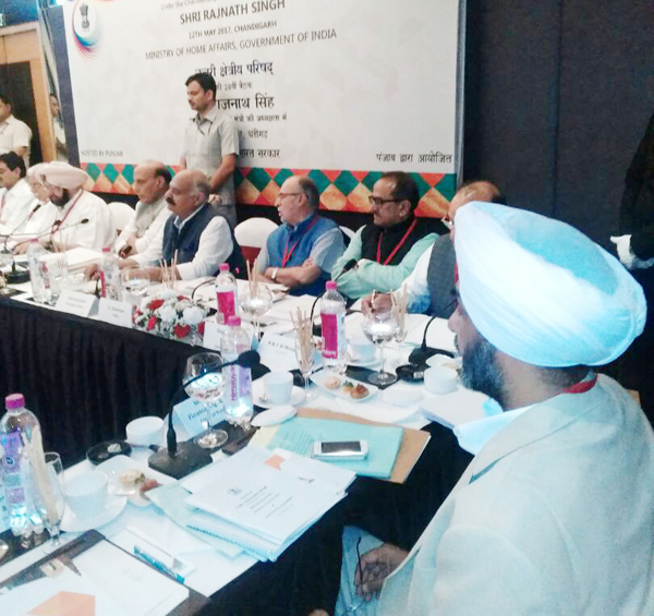 Union Home Minister Rajnath Singh chairing NZC meeting in Chandigarh on Friday. Deputy CM Dr Nirmal Singh is also seen.