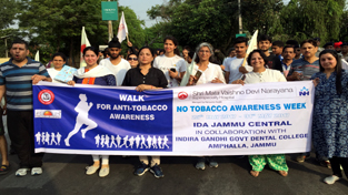 Participants during Walkathon for Anti Tobacco Awareness in Jammu on Sunday.