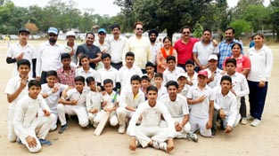 Winners posing along with the officers and officials during Inter-Zonal Cricket Tournament  at Satwari in Jammu.