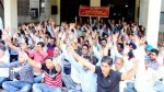 VLWs/ MPWs/ MGNREGA workers raising slogans in support of their demands during protest dharna at Jammu on Thursday.