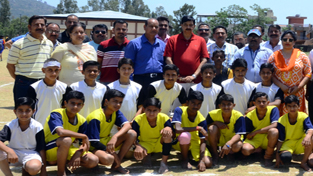 MLA Udhampur Pawan Gupta and other posing for photograph after inaugurating District Level Inter Zonal Competitions at Sports Stadium, Udhampur.