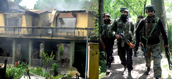 The remains of the house at Soimoh village in Tral area in Pulwama district, where a top Hizbul commander Sabzar Bhat and one of his aide were killed in an encounter with Army on Saturday.