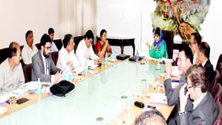Chief Minister, Mehbooba Mufti chairing a meeting of Pahalgam Development Authority at Srinagar on Monday.