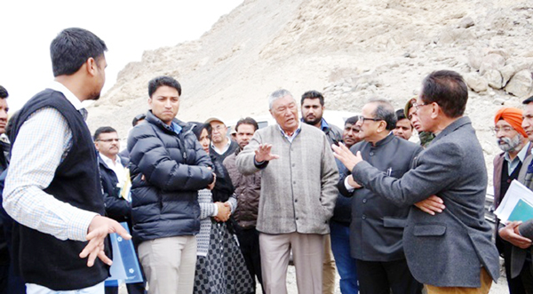 DyCM, Dr Nirmal Singh during his visit to Leh on Saturday.
