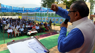 DyCM, Dr. Nirmal Singh addressing a public gathering in Kathua on Sunday.