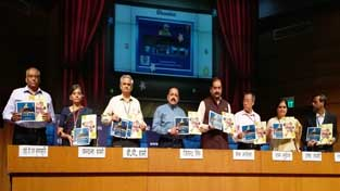 Union Minister Dr Jitendra Singh releasing a series of booklets highlighting the three years' achievements of the various departments under him, at a media briefing held at National Media Centre, New Delhi on Tuesday. Also seen are Secretaries and senior officers of the respective departments.