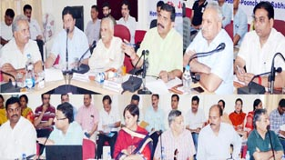 MP, Jugal Kishore Sharma chairing DISHA meeting at Jammu on Monday.