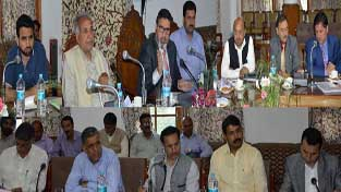 Minister for Education, Syed Mohammad Altaf Bukhari chairing a meeting on Tuesday.