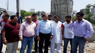 Speaker Kavinder Gupta inspecting development work in Gandhi Nagar constituency on Tuesday.