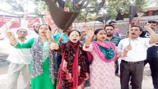 Contractual lecturers shouting slogans in support of their demands.