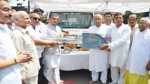 MP Shamsher Singh Manhas handing over a vehicle to  Yatri Bhawan Trust at Jammu on Friday.