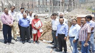 Executive Director, Salal Power Station, AG Ansari laying foundation of Captive Bay at Dhyangarh in Salal on Monday.