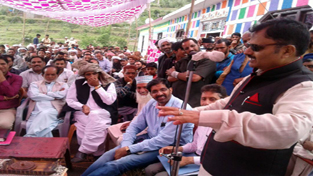 MLA Mendhar Javed Rana addressing public meeting in Gursai area on Tuesday.