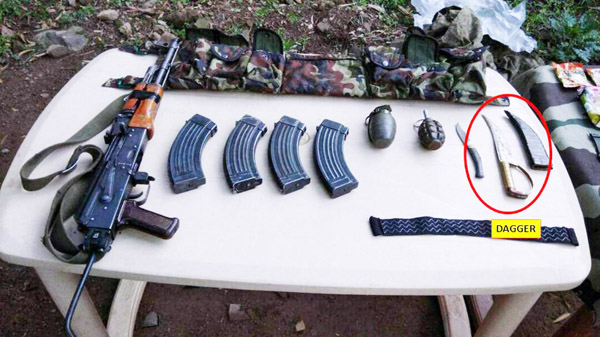Arms and ammunition recovered by Army in Karmara area of Poonch sector on Friday.