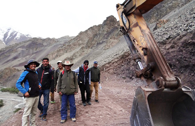 CEC inspecting ongoing construction work of Chokdo road in Leh.
