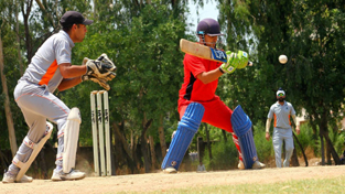 Batsman trying to guide the ball towards third-man area during a match of Simula T20 Super League at GGM Science College Hostel ground on Friday.