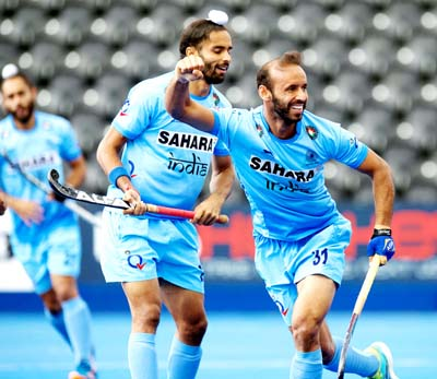 Ramandeep Singh celebrates after scoring first goal against Pakistan during the classification match of the Hero Hockey World League semifinals in London on Saturday.