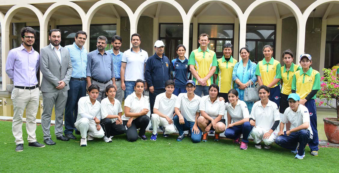 Women cricketers posing for group photograph with Australian cricket legend Adam Gilchrist Advisor to J&K CM Prof Amitabh Mattoo and others at New Delhi.