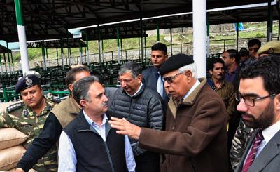 Governor NN Vohra inspecting arrangements for Amarnath Ji Yatra at Chandanwari on Wednesday.