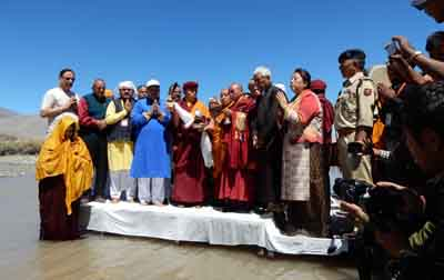 Dignitaries during inauguration of Sindhu Darshan festival at Leh on Saturday. -Excelsior/Morup Stanzin
