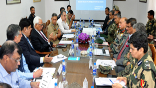 Governor NN Vohra chairing a meeting at Srinagar on Thursday