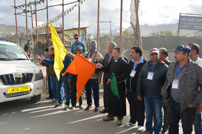 LAHDC Chairman Dr Sonam Dawa and Ladakh Affairs and Cooperative Minister Chering Dorjay flagging off Yatra to Chota Kailash. -Excelsior/ Morup Stanzin
