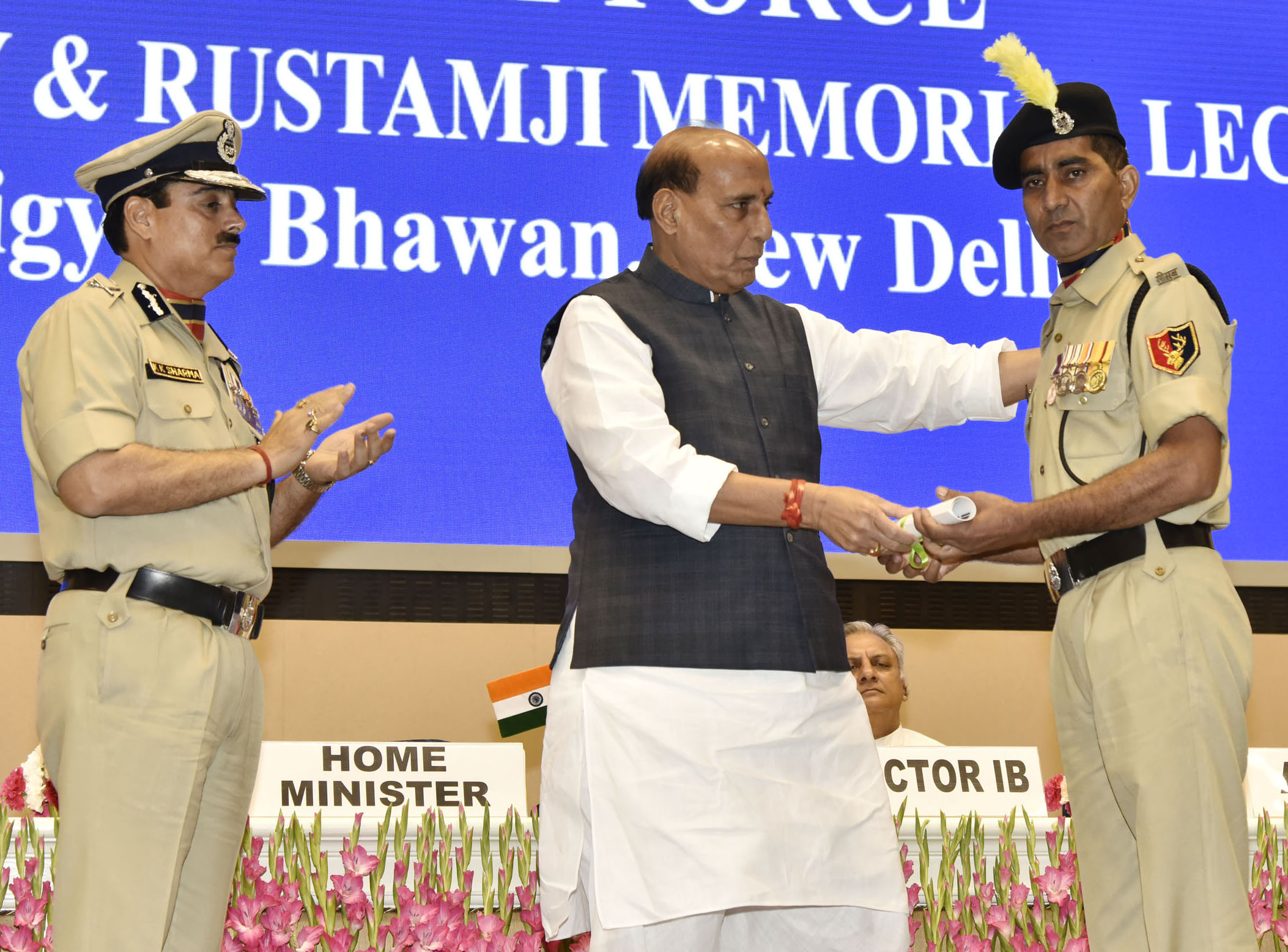 Union Home Minister, Rajnath Singh presenting the Police Medal for Gallantry, at the Border Security Force (BSF) Investiture Ceremony, in New Delhi on Thursday.