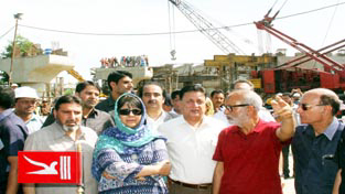 Chief Minister Mehbooba Mufti during extensive tour of Srinagar city on Wednesday.