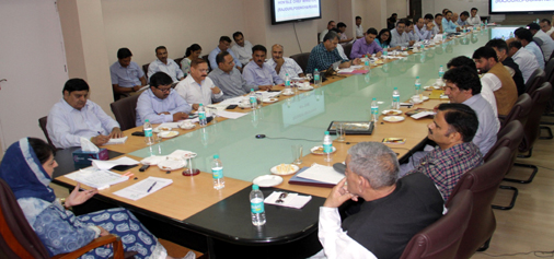 Chief Minister Mehbooba Mufti at a meeting in Srinagar on Monday.