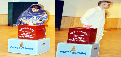 Chief Minister Mehbooba Mufti and Opposition leader Omar Abdullah casting their votes for the Presidential election in Srinagar on Monday.