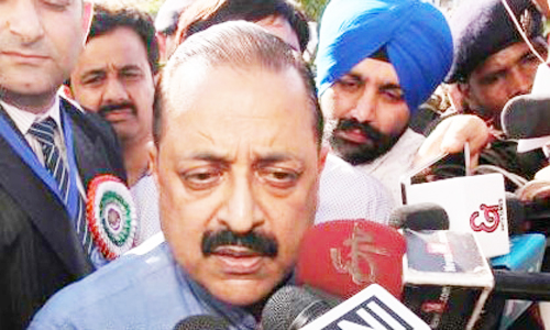 Union Minister, Dr Jitendra Singh talking to reporters at Jammu on Sunday.— Excelsior/Rakesh