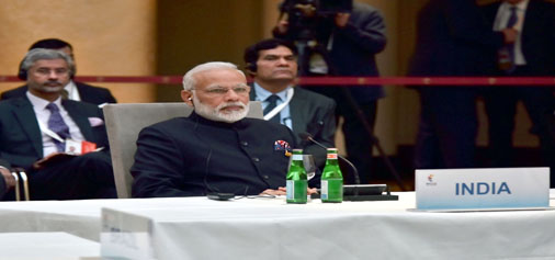 Prime Minister, Narendra Modi at the informal meeting of leaders of the BRICS countries on the sidelines of the 12th G-20 Summit at Hamburg, Germany on Friday.(UNI)