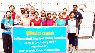 J&K climbers with the organizers of the 2nd Women North Zone Sport Climbing Competition at Indian Mountaineering Foundation, New Delhi.