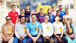 State Sport Climbing team posing along with Officers and Officials in Jammu on Saturday.