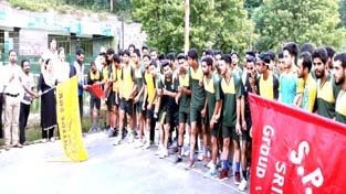 Road Race being flagged off from SP College in Srinagar on Saturday.