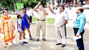 Dignitaries releasing balloons while inaugurating KVs 48th Regional Athletics Meet in Jammu.