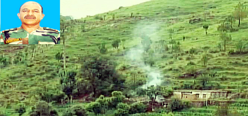 A mortar shell explodes near a house in Manjakote sector of Rajouri district on Wednesday. (Inset) Martyr Subedar Shashi Kumar.