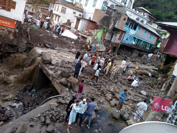 A view of devastation caused by flashfloods in Thathri area of Doda on Thursday.