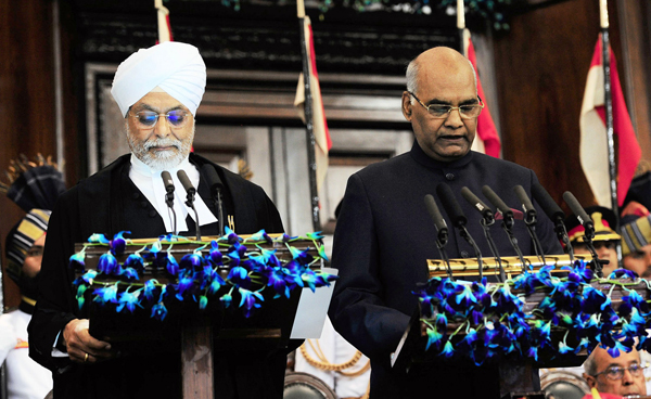 Chief Justice of India, Justice J S Khehar administering oath of office of President of India to Ram Nath Kovind at a swearing-in ceremony in the Central Hall of Parliament in New Delhi on Tuesday.