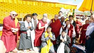 Dalai Lama consecrating Shenam Turthot Tharpaling. —Excelsior/Morup Stanzin