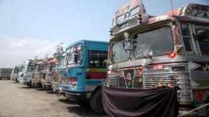 Buses parked at Batamaloo Bus Stand in view of Chakka Jam on Thursday. —Excelsior/Shakeel