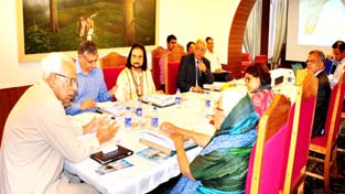 Governor N N Vohra chairing SASB meeting on Monday.