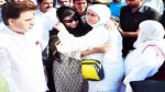 Chief Minister, Mehbooba Mufti giving warm send off to Hajj pilgrims at Srinagar airport on Tuesday.