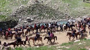 Pilgrims on way to holy cave via Sheshnag on Thursday.