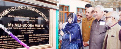 Chief Minister Mehbooba Mufti inaugurating water supply scheme in Sopore on Tuesday.