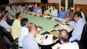 Chief  Secretary BB Vyas chairing a meeting of Committee of Secretaries at Srinagar on Thursday.