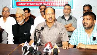 Leaders of JKRCEA interacting with media persons at Jammu on Monday.  -Excelsior/Rakesh