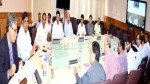 Chief Secretary B B Vyas chairing a meeting at Srinagar on Tuesday.
