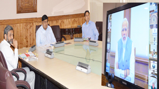 Chief Secretary of J&K during video-conference with Prime Minister Narendra Modi on Wednesday.