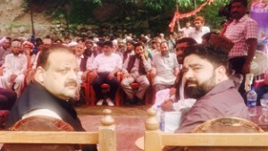 National Conference Provincial President, Devender Rana during his visit to Zero Line at LoC in Poonch on Thursday.